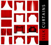 Vector set of red silk curtains Royalty Free Stock Photography