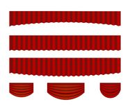 Vector set of red stage realistic curtains vector illustration