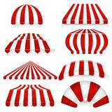 Vector set of red-white sunshades. Outdoors awnings for cafe and market. royalty free illustration