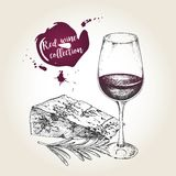 Vector set of red wine collection. Engraved vintage style. Glass, cheese and rosemary. Royalty Free Stock Photography