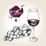 Vector set of red wine in vintage style. bottle, glass and grape. Use for restaurant, cafe, store, food, menu, design. Stock Photography