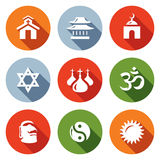 Vector Set of Religion Icons. Catholic, Buddhism, Islam, Judaism, Christianity, Hinduism, Idolatry, Taoism, Paganism. Church, Temple, Mosque, Synagogue, Dome Royalty Free Stock Photos