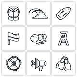 Vector Set of Rescue on Water Icons. Life Jacket, Tsunami, Float, Flag, Buoys, Towers Saver, Lifebuoy, Speaker, Fins. Stock Images
