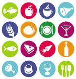 Vector set or restaurant icons and food. Pictograms on circles Royalty Free Stock Image