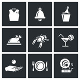 Vector Set of Restaurant Icons. Waiter, Call, Alcohol, Food, Delicacy, Drink, Tip, Laying, Music. Royalty Free Stock Photo