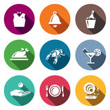 Vector Set of Restaurant Icons. Waiter, Call, Alcohol, Food, Delicacy, Drink, Tip, Laying, Music. Vests, Bell, Champagne, Dish Cancer Cocktail Payment Crockery Stock Image