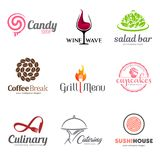 Vector set of restaurant logo design. Eco food, wine, sushi, cupcakes, coffee and grill icon. Dish elements icon design. Vector set of restaurant logo design Royalty Free Stock Photography