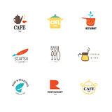Vector set of restaurant logo design templates. Eco food, fast food, sushi, pizza icons, fish and sea food company insignia. Coffee and tea icons. Dish Stock Photography