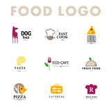 Vector set of restaurant logo design templates. Eco food, fast food, sushi, pizza icons, fish and sea food company insignia. Coffee and tea icons. Dish Royalty Free Stock Photos