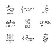 Vector set of restaurant logo design templates. Stock Photography
