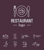 Vector set of restaurant logo design templates. Royalty Free Stock Image