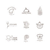 Vector set of restaurant logo design templates. Royalty Free Stock Images
