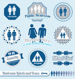 Vector Set: Restroom and Bathroom Labels. Collection of retro style bathroom labels and icons with equality joined in Royalty Free Stock Photography