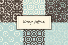 Vector set of retro abstract vintage seamless patterns. Cute backgrounds Stock Images