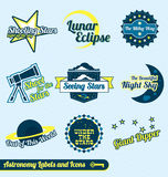 Vector Set: Retro Astronomy and Stars Labels. Collection of vintage astronomy labels and icons Royalty Free Stock Photo