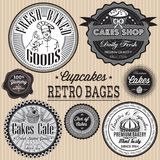 Vector set of retro badges for cake Stock Images