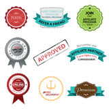 Vector set of retro badges, labels, buttons and icons. Royalty Free Stock Photos