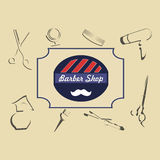 Vector set of retro barber shop labels, logo Stock Image
