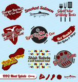 Vector Set: Retro BBQ and Meats Labels. Collection of vintage BBQ and meats labels and icons Royalty Free Stock Photos