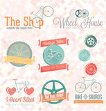 Vector Set: Retro Bike Shop Labels and Icons Stock Images