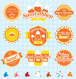 Vector Set: Retro Candy Corn Labels Stock Photos