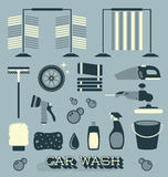 Vector Set: Retro Car Wash Icons and Silhouettes Royalty Free Stock Image