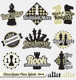Vector Set: Retro Chess Labels and Stickers. Collection of vintage style chess piece labels and stickers Royalty Free Stock Image