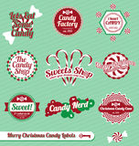 Vector Set: Retro Christmas Candy Labels Stock Photos