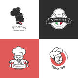 Vector set of retro classic badges for pizza Royalty Free Stock Photo