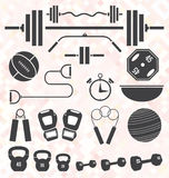 Vector Set: Retro Color Flat Gym and Workout Equip Stock Photography