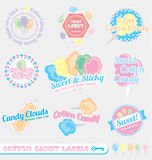 Vector Set: Retro Cotton Candy Labels. Collection of vintage style cotton candy labels Stock Photos