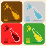 Vector set of retro drinks in a glass bottle Royalty Free Stock Photo