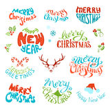 Vector set of retro elements for Christmas designs. Vintage labels and emblems for Christmas and New Year holidays isolated on white background. Hand-written Royalty Free Stock Image