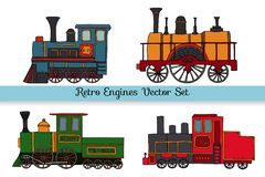 Vector set of retro engines stock illustration