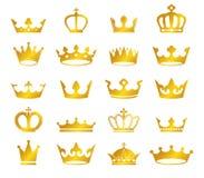 Vector set of retro golden crowns on black background. Vector collection of retro golden crowns on black background Stock Image