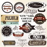 Vector set of retro grunge labels premium quality Stock Image