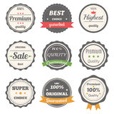 Vector set of retro labels. Best choice, guaranteed and premium Royalty Free Stock Photography