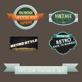 Vector set of retro labels, buttons and icons. Royalty Free Stock Images