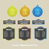 Vector set of retro labels, buttons and icons. Royalty Free Stock Photography