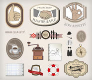 Vector set of retro labels and stuff Stock Images