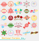 Vector Set: Retro Mixed Candy Labels Royalty Free Stock Photo