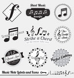 Vector Set: Retro Music Note Labels and Stickers. Collection of retro style music note labels and icons Royalty Free Stock Image