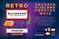 Vector set Retro neon sign, vintage billboard, bright signboard royalty free illustration