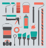 Vector Set: Retro Painting Supplies Silhouettes an Royalty Free Stock Image