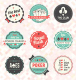 Vector Set: Retro Poker Labels and Icons Stock Photo