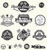 Vector Set: Retro Race Car Labels Stock Images