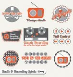 Vector Set: Retro Recording Labels and Stickers. Collection of retro recording equipment and radio labels and icons Royalty Free Stock Photo