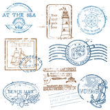 Vector Set of Retro SEA stamps Stock Images