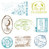 Vector Set of Retro SEA stamps. For design and scrapbook Stock Photo