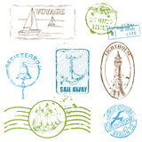 Vector Set of Retro SEA stamps. For design and scrapbook Royalty Free Stock Photo
